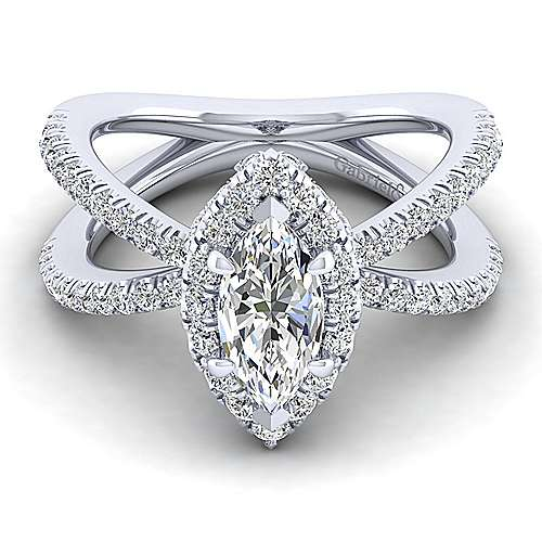 Gabriel - 14k White Gold Marquise  Split Shank Engagement Ring