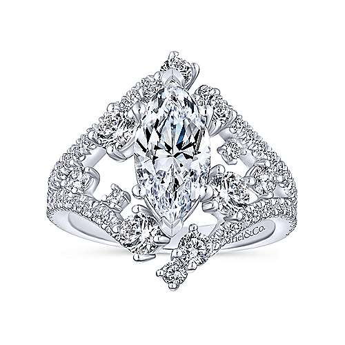 14k White Gold Marquise  Split Shank Engagement Ring angle 5