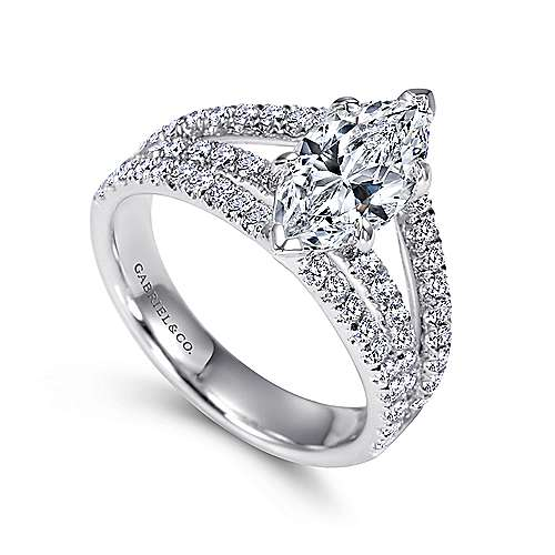 14k White Gold Marquise  Split Shank Engagement Ring angle 3