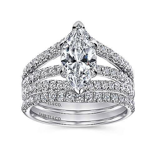 14k White Gold Marquise  Split Shank Engagement Ring angle 4