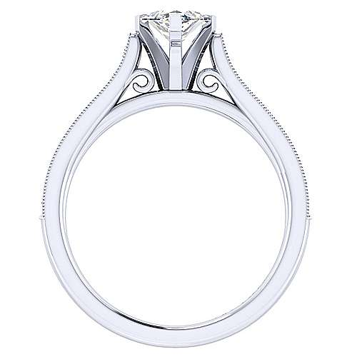 14k White Gold Marquise  Straight Engagement Ring angle 2