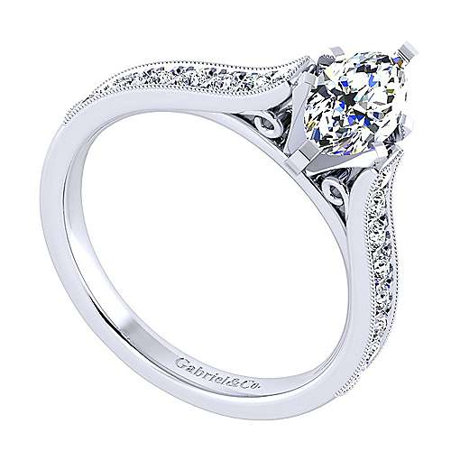 14k White Gold Marquise  Straight Engagement Ring angle 3