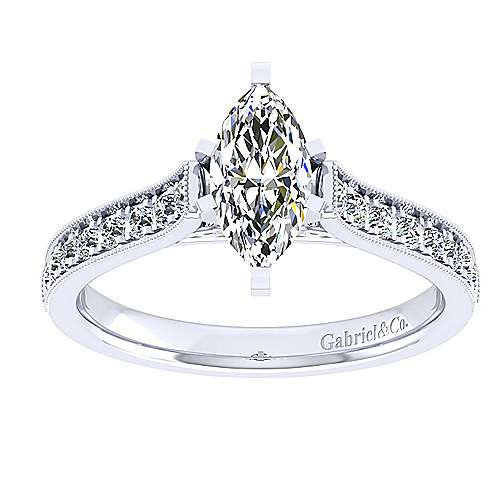 14k White Gold Marquise  Straight Engagement Ring angle 5