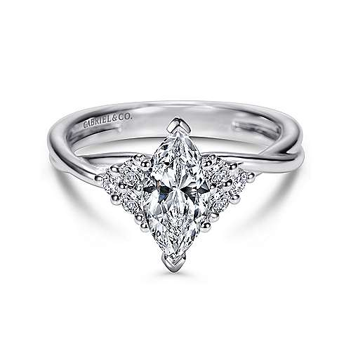 14k White Gold Marquise  Twisted