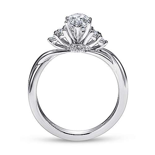 14k White Gold Marquise  Twisted Engagement Ring angle 2