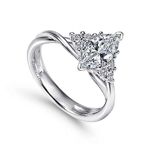 14k White Gold Marquise  Twisted Engagement Ring angle 3