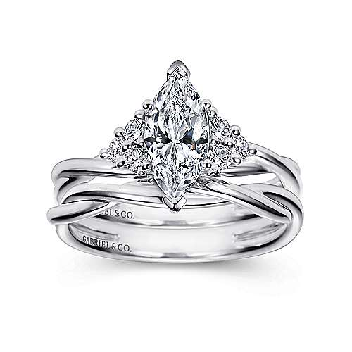 14k White Gold Marquise  Twisted Engagement Ring angle 4