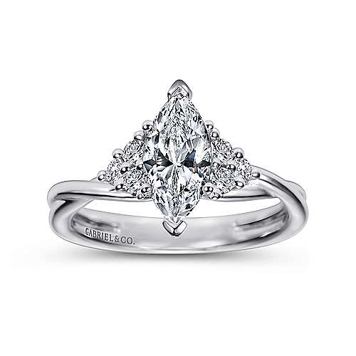 14k White Gold Marquise  Twisted Engagement Ring angle 5