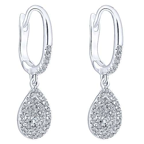 14k White Gold Messier Drop Earrings angle 2
