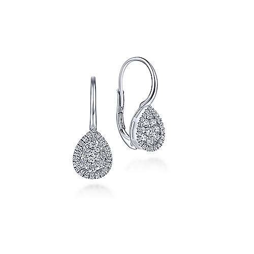 14k White Gold  Drop
