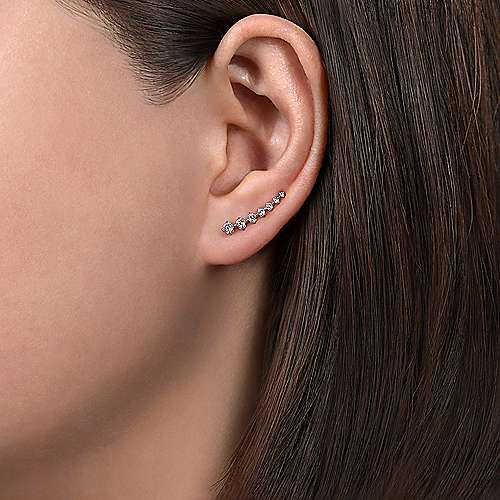 14k White Gold Messier Ear Climber Earrings angle 2