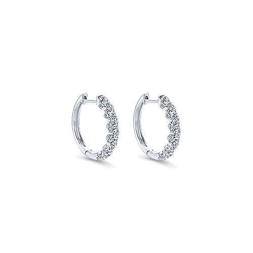 14k White Gold Messier Huggie Earrings angle 1