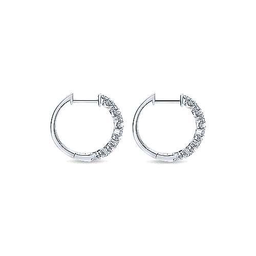14k White Gold Messier Huggie Earrings angle 2