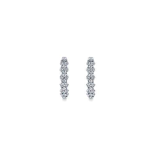 14k White Gold Messier Huggie Earrings angle 3