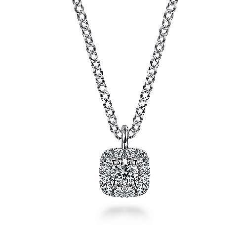 Gabriel - 14k White Gold Messier Square Fashion Necklace