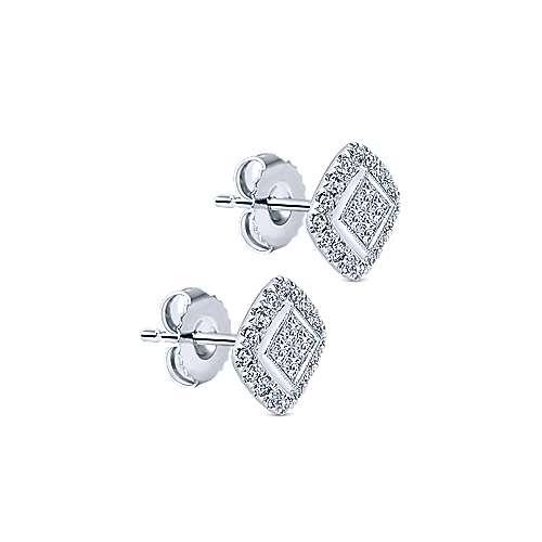 14k White Gold Messier Stud Earrings angle 2