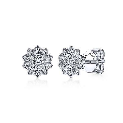 Gabriel - 14k White Gold Messier Stud Earrings
