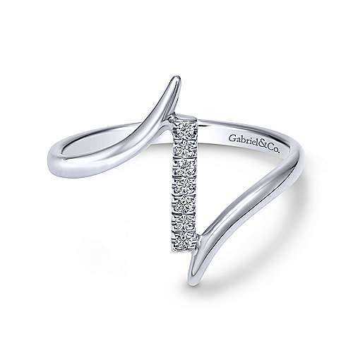14k White Gold Midi Ladies' Ring angle 1