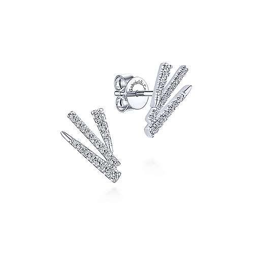14k White Gold Modern Fan Motif Diamond Stud Earrings