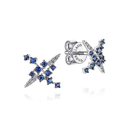 Gabriel - 14k White Gold Modern Scattered Sapphire and Diamond Stud Earrings