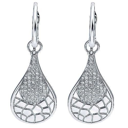 Gabriel - 14k White Gold Nature Drop Earrings