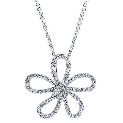 14k White Gold Nature Fashion Necklace angle 1