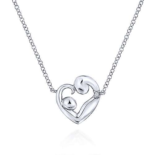 14k White Gold Nursery Rhymes Heart Necklace angle 1