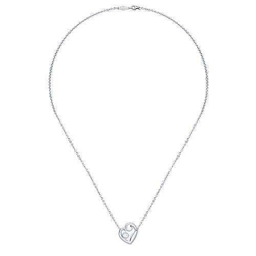 14k White Gold Nursery Rhymes Heart Necklace angle 2