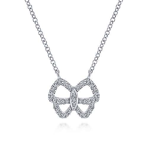 14k White Gold Openwork Diamond Butterfly Necklace