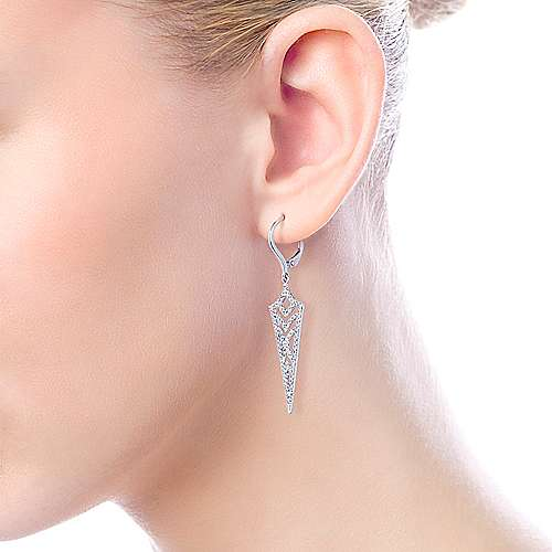 14k White Gold Openwork Diamond Drop Earrings angle 2