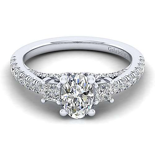 Gabriel - 14k White Gold Oval 3 Stones Engagement Ring