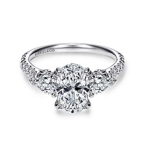 14k White Gold Oval 3 Stones Engagement Ring angle 1