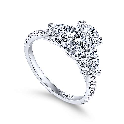 14k White Gold Oval 3 Stones Engagement Ring angle 3