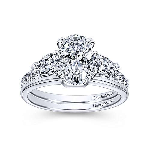 14k White Gold Oval 3 Stones Engagement Ring angle 4