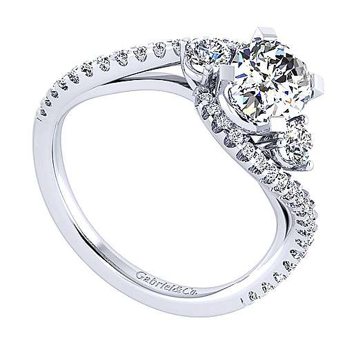 14k White Gold Oval Bypass Engagement Ring angle 3