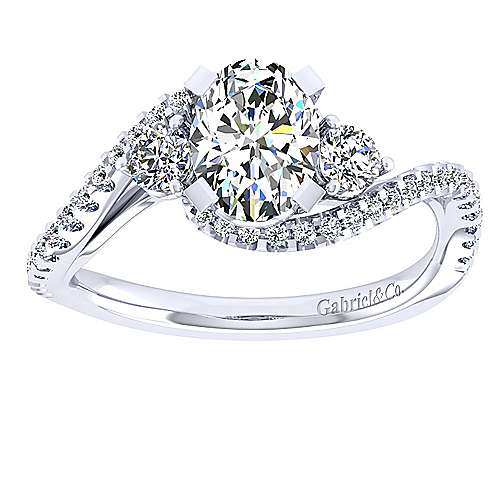 14k White Gold Oval Bypass Engagement Ring angle 5