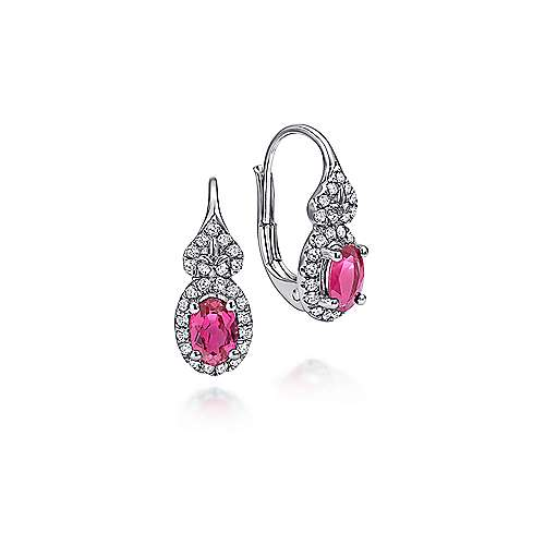 14k White Gold Oval Cut Ruby and Diamond Drop Earrings