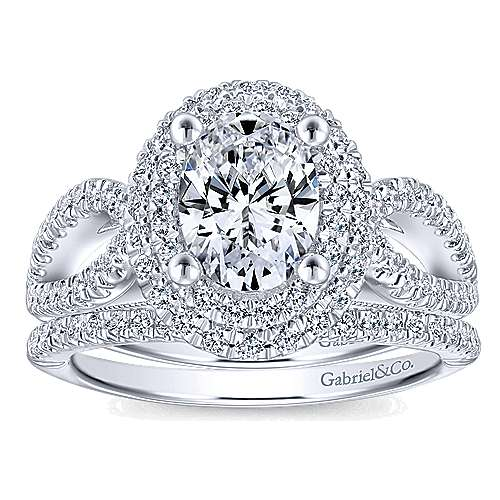 14k White Gold Oval Double Halo Engagement Ring angle 4