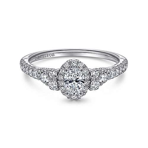 14k White Gold Oval Halo Engagement Ring