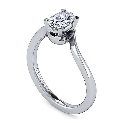14k White Gold Oval Solitaire Engagement Ring angle 3