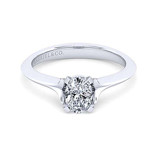 14k White Gold Oval Solitaire Engagement Ring angle 1