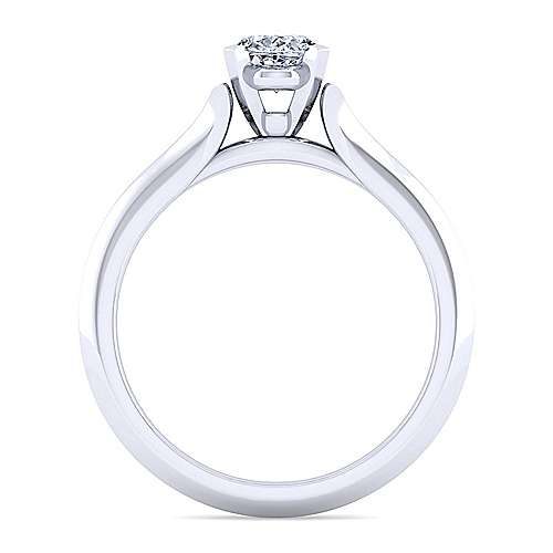 14k White Gold Oval Solitaire Engagement Ring angle 2