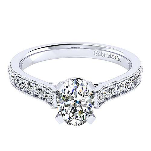 14k White Gold Oval Straight Engagement Ring