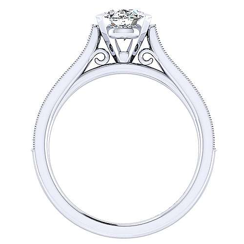 14k White Gold Oval Straight Engagement Ring angle 2