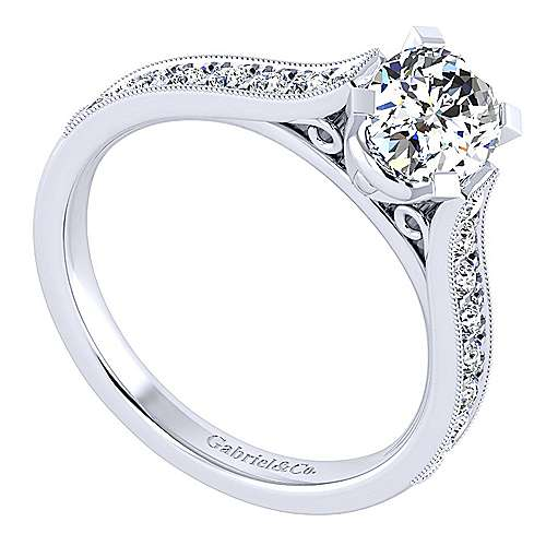 14k White Gold Oval Straight Engagement Ring angle 3