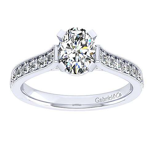 14k White Gold Oval Straight Engagement Ring angle 5