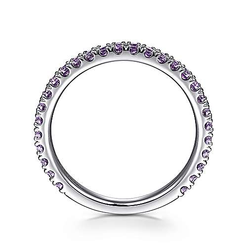 14k White Gold Pave Amethyst Stackable Ladies Ring angle 2