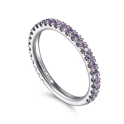 14k White Gold Pave Amethyst Stackable Ladies Ring angle 3