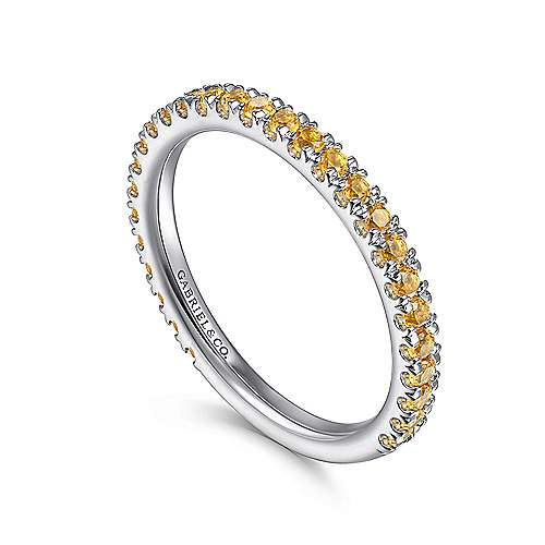 14k White Gold Pave Citrine Stackable Ladies Ring angle 3
