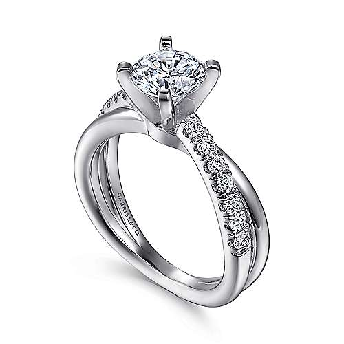 14k White Gold Pave Criss Cross Round Diamond Engagement Ring angle 3